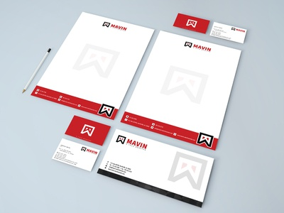 MAVIN  Logo + letterhead + business card