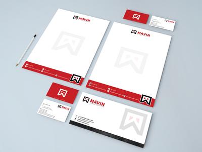 MAVIN  Logo + letterhead + business card