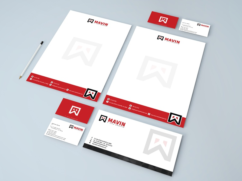 MAVIN  Logo + letterhead + business card illustratior creative vectore marketing branding businesscard logo-design letterheaddesign