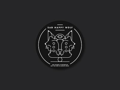 Sad happy wolf stickers. flat vector design sticker illustration