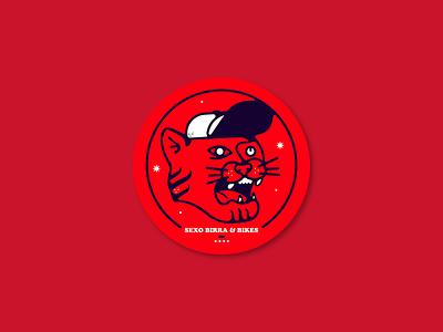 Sex Beer & Bike stickers. design vector flat branding logo sticker illustration