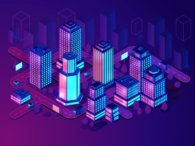 Smart City isometric illustration modern skyscraper building design map concept futuristic purple violet light neon vector illustration isometric isometria smart city city smart