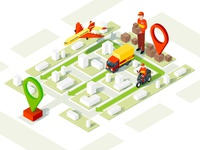 Smart delivery isometric illustration