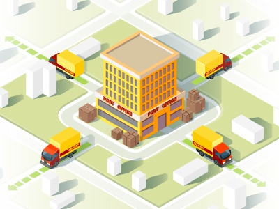 Delivery service isometric vector illustration map concept retail distribution freight cargo smart route shipment shipping parcel post truck isometric infographic app 3d post office delivery logistic