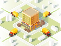Delivery service isometric vector illustration