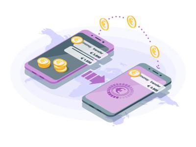 International money transfer isometric vector illustration