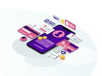 Mobile banking isometric color vector illustration