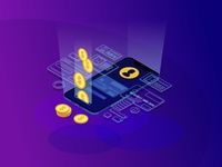Online money transfer isometric color vector illustration