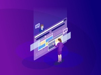 Website assistance isometric color vector illustration
