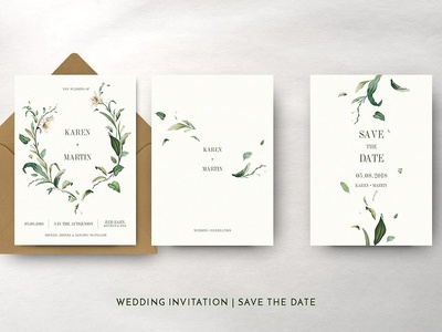 Green Foliage Wedding Suite modern simple invitation hand drawn invitation logo delicate invitation set romance floral flower cute simple hand crafted wedding card green invitation card invitation craft