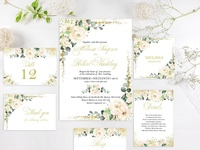 White Roses and Gold Wedding Invite
