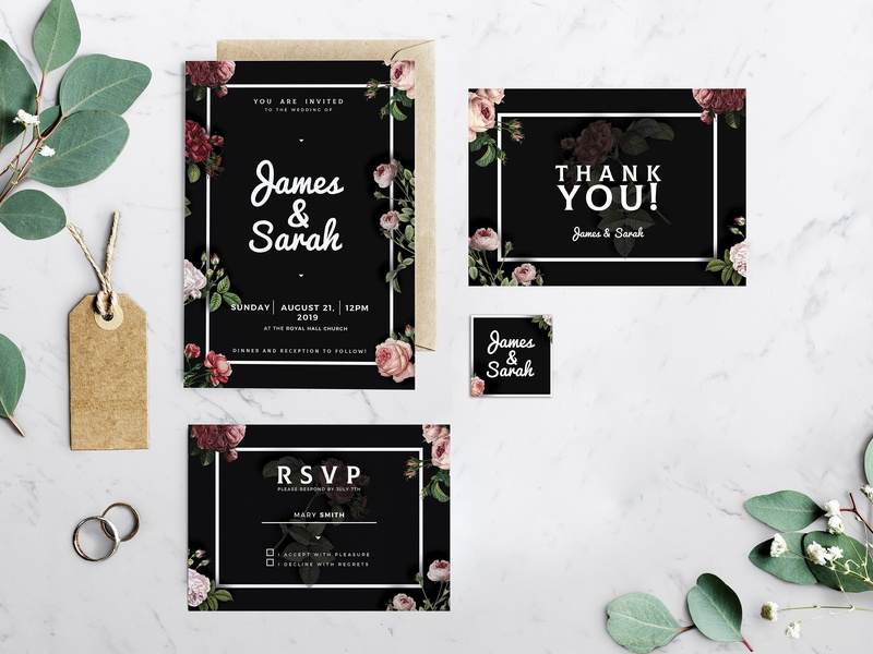 Vintage Wedding Invitation Template By Invitations Dribbble Dribbble