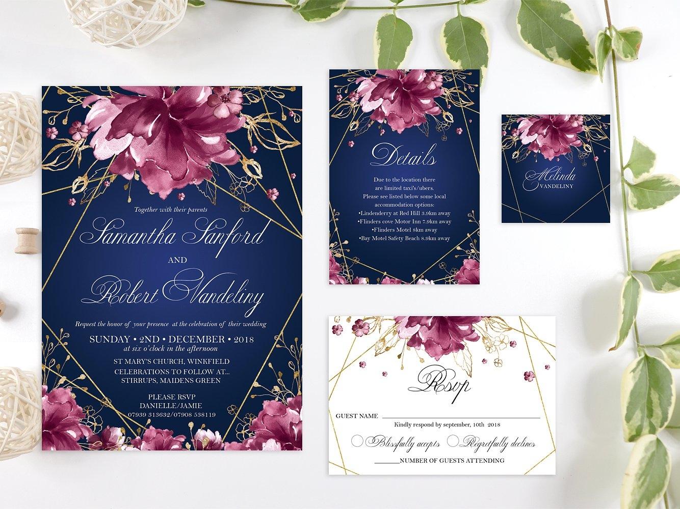 Burgundy And Gold Wedding Invitations: Navy, Burgundy And Gold Wedding Set By Invitations