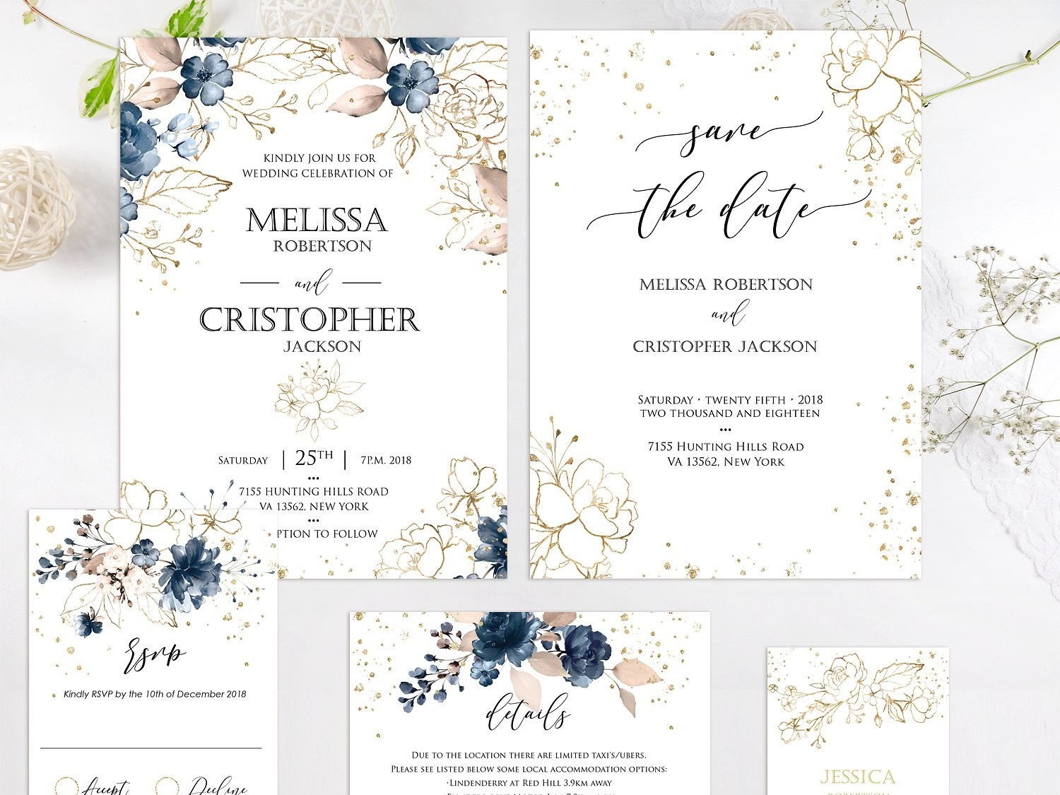 navy and gold wedding invitation by invitations dribbble dribbble