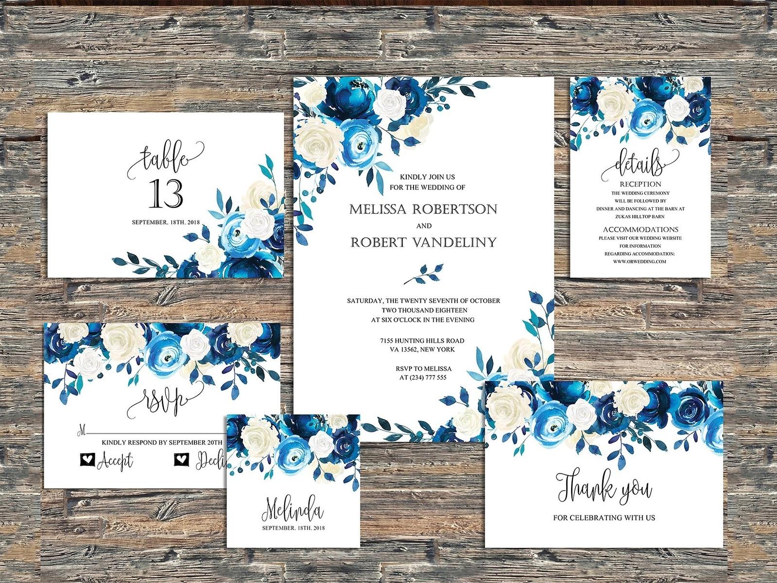 Navy Wedding Invitation Blue Roses by Invitations - Dribbble