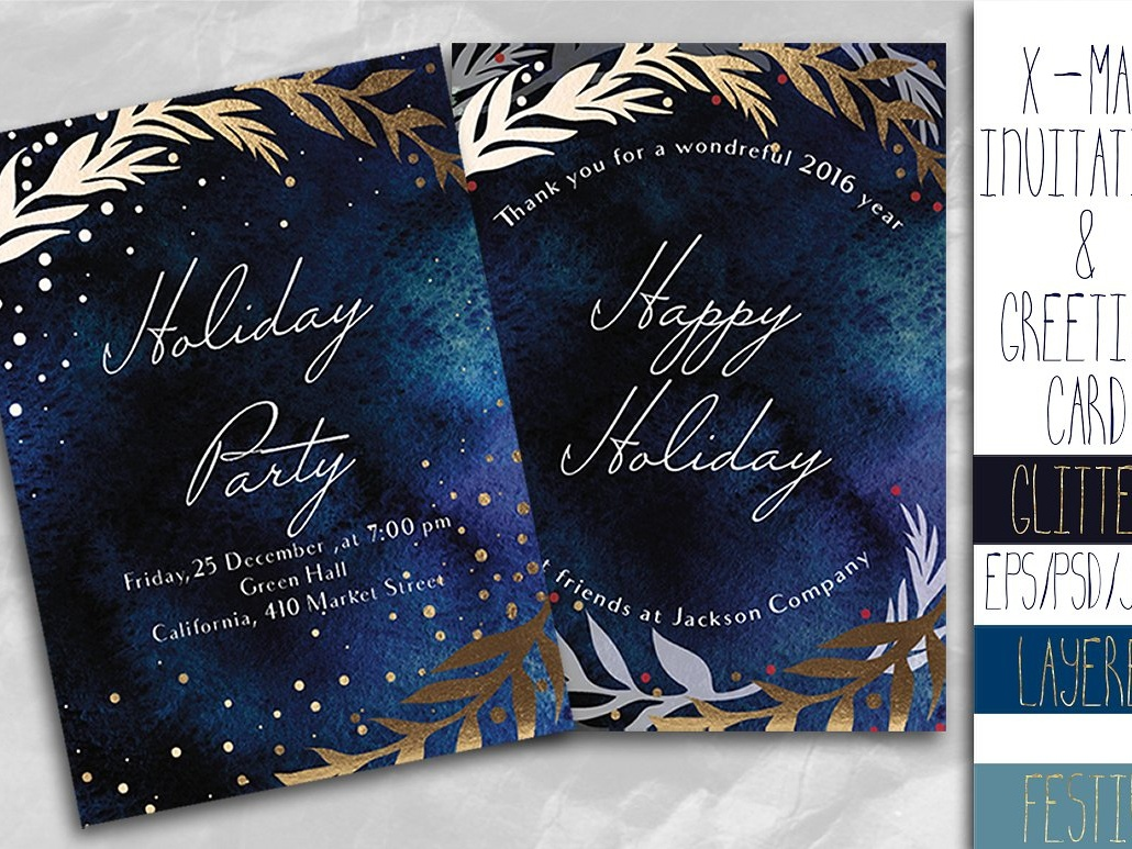 X Mas Invitation And Greeting Card By Invitations Dribbble