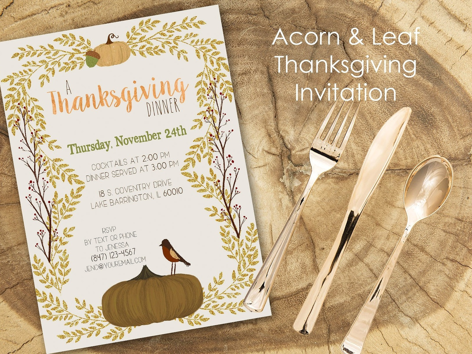 Acorn Leaf Thanksgiving Invitation Thanksgiving Logo Design Floral Flower Romance Hand Crafted Cute Craft Simple Invitation