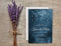 Painted Starry Night Wedding Invites