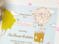 Balloon Girl Baby Shower invitation