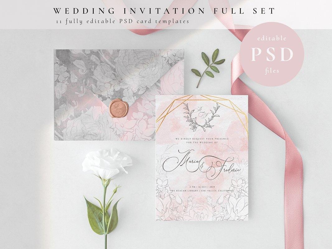 Wedding Invitation Full Set Psd By Invitations Dribbble Dribbble