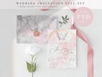 Wedding Invitation Full Set. PSD