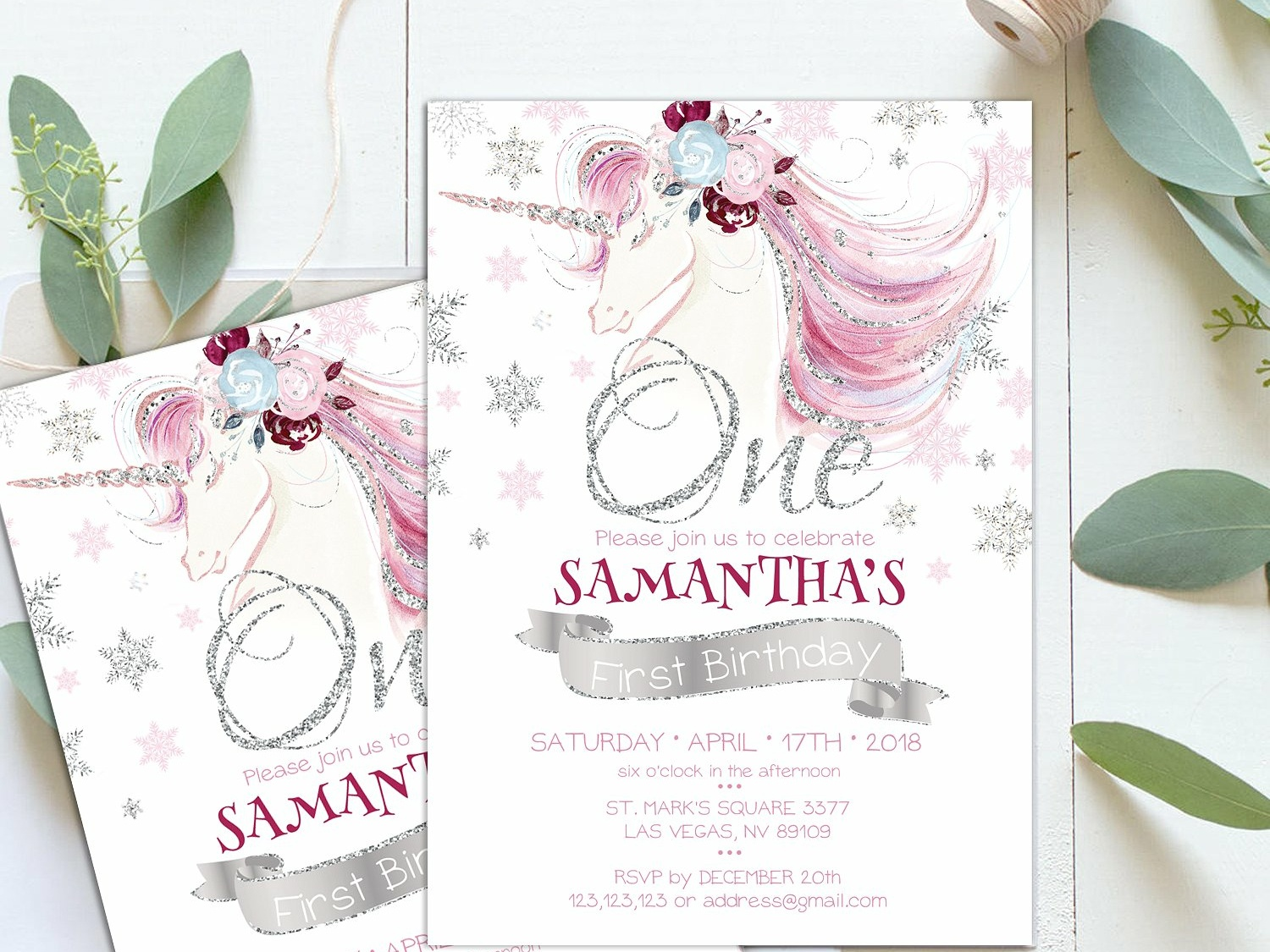 Unicorn 1s First Birthday Invite