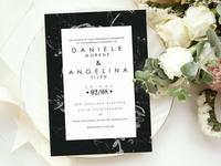 Black Floral Wedding Invitation Set