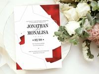 Red Glass Wedding Invitation Set