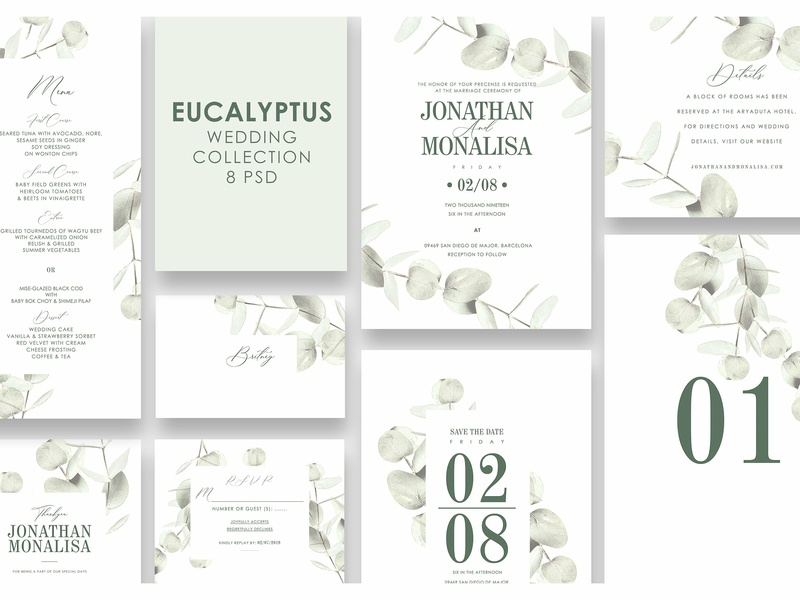 eucalyptus wedding invitation set by invitations