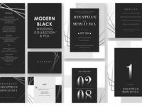 Modern Black Wedding Invitation Set