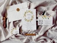 Warm Leaves Wedding Invitation Suite