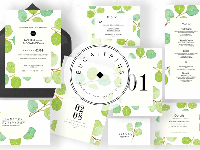 Eucalyptus Wedding Invitation Suite wedding gift cards logo illustration design flower floral romance cute hand crafted craft wedding card simple invitation hand drawn invitation simple delicate invitation set modern invitation invitation card