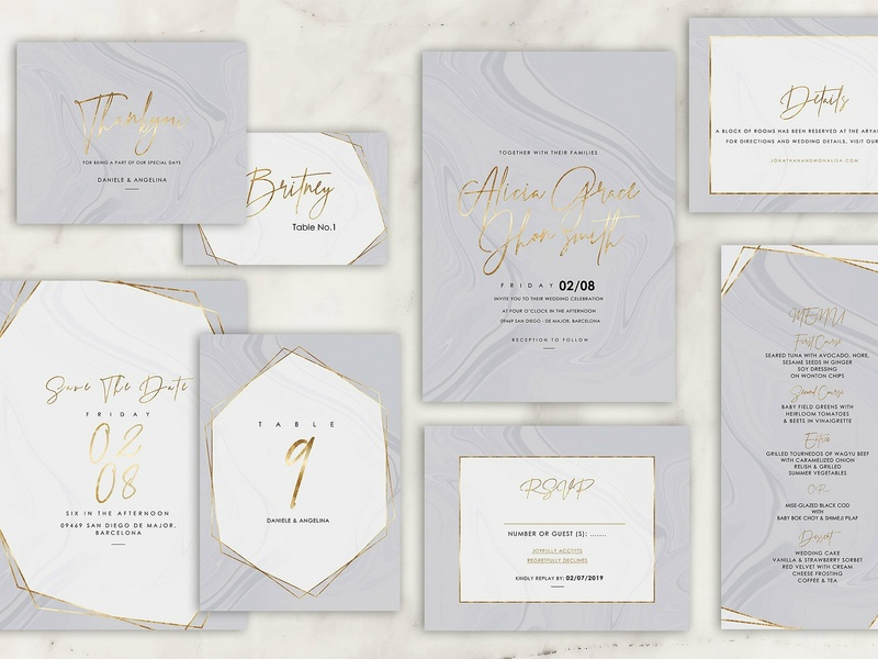 Marble Wedding Invitation marble logo design wedding suite floral illustration flower romance cute hand crafted craft wedding card simple invitation hand drawn invitation simple delicate invitation set modern invitation invitation card