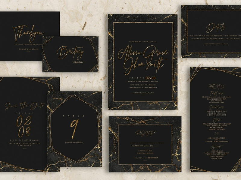 Gold Black Marble Wedding Invitation wedding gift cards logo design flower floral romance cute illustration hand crafted craft wedding card simple invitation hand drawn invitation simple delicate invitation set modern invitation invitation card