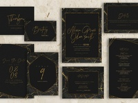 Gold Black Marble Wedding Invitation