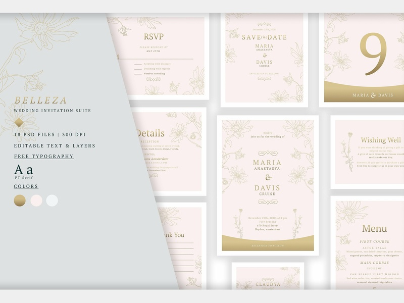 Wedding Invitation Suite - Belleza wedding invitation wedding gift cards logo design flower floral romance cute hand crafted craft wedding card simple invitation hand drawn invitation simple delicate invitation set modern invitation invitation card