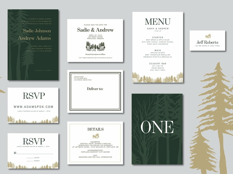 Woodland Suite Images wedding invitation wedding gift cards logo design flower floral romance cute hand crafted wedding card simple invitation hand drawn invitation simple craft delicate invitation set modern invitation invitation card