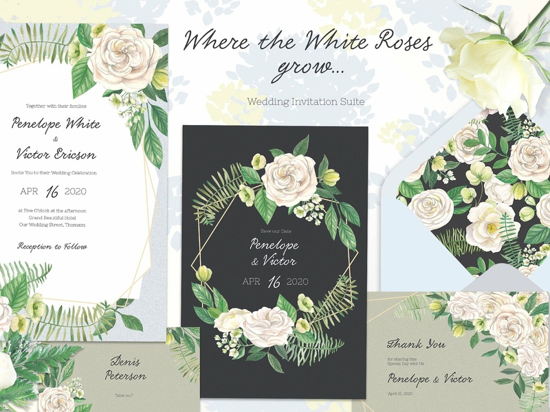 White Roses Wedding Suite wedding invitation wedding gift cards logo design flower floral romance cute hand crafted craft wedding card simple invitation hand drawn invitation simple delicate invitation set modern invitation invitation card