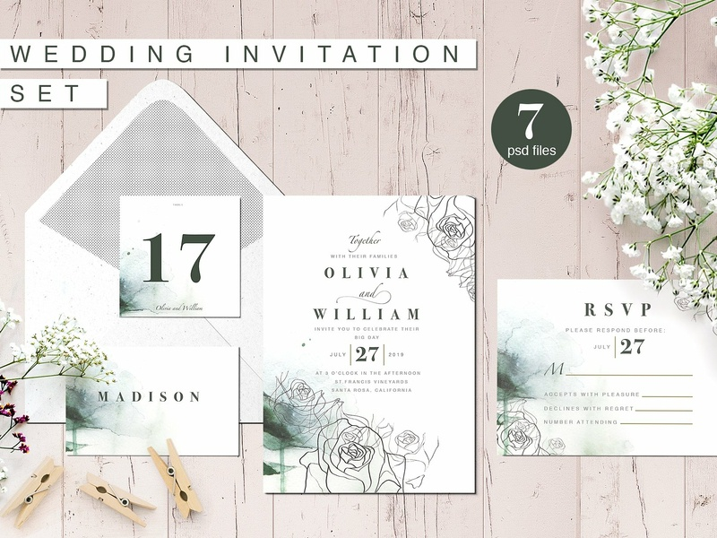 Foliage Wedding Invitation Suite romance hand crafted set white design flower floral cute wedding craft wedding card simple invitation hand drawn invitation simple delicate invitation set modern invitation invitation card suite