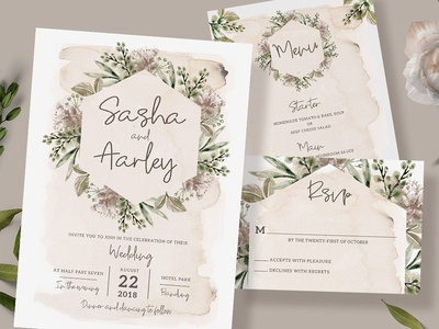 Foliage Wedding Invitation Suite
