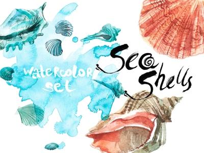 Watercolor set SEA SHELLS