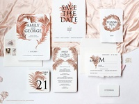 Palm Leaves Foiling Invitation