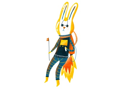 Ray the Space Bunny character design drawing illustration