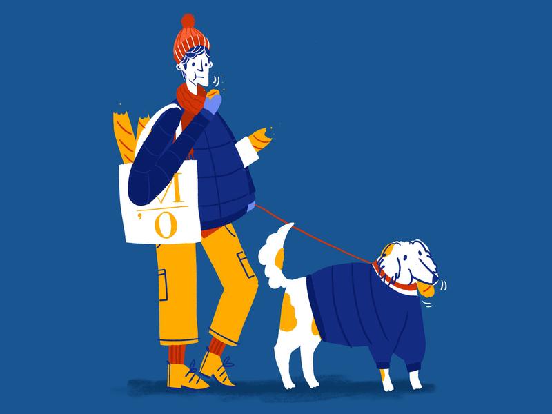 Warm Baguette dog baguette parisian character design illustration drawing