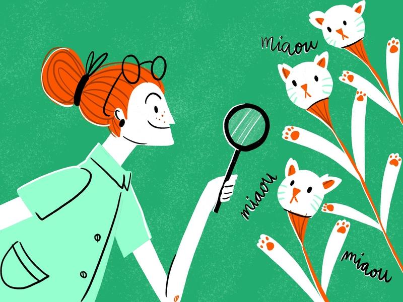 Miaou miaou miaou cat procreate character design illustration drawing