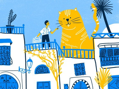 Sidi Bou Said travel sidi bou said tunisie tunisia illustration procreate drawing