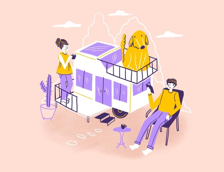 Tiny House house tiny house procreate illustration drawing