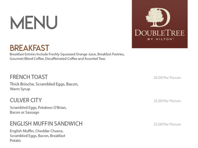 Double Tree Menu breakfast hotels menu design menu