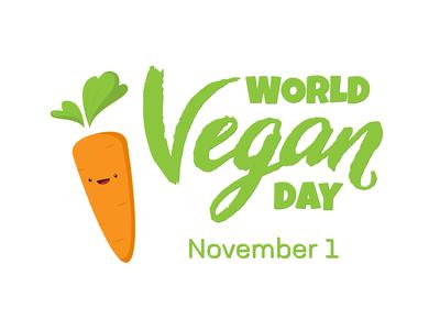 November 1 World Vegan Day greeting card