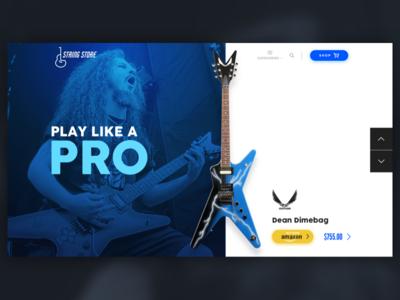Guitar Store android principle motion dimebag pantera amazon guitars prototype logo illustration web interactive responsive clean app ios design ui ux